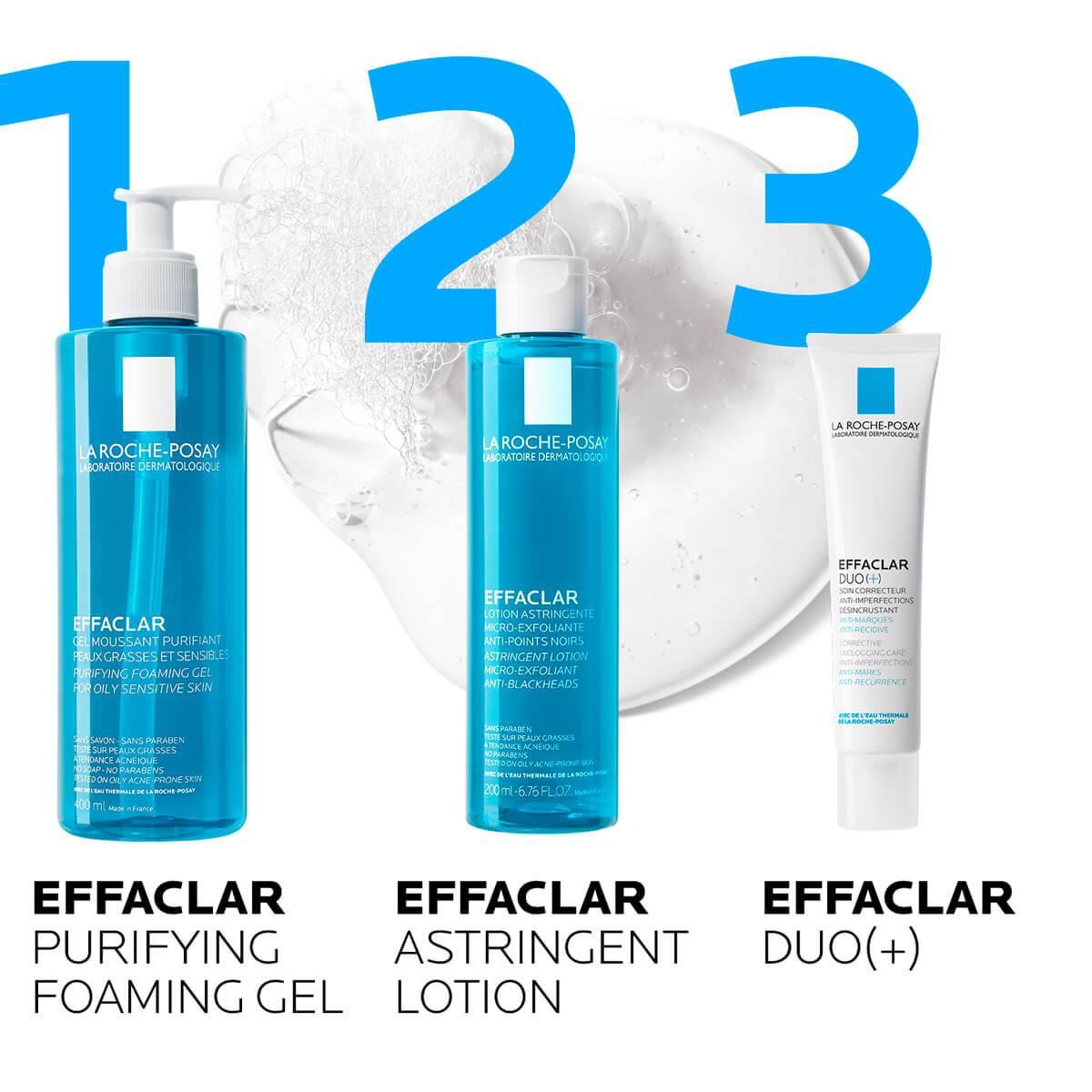 La Roche Posay Tuotesivu Epäpuhtauksiin taipuvaisuus Effaclar Cleansing Foaming Gel 400ml routine